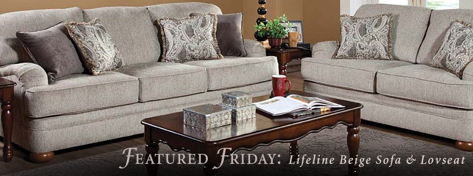 Lifeline Beige Sofa and Loveseat