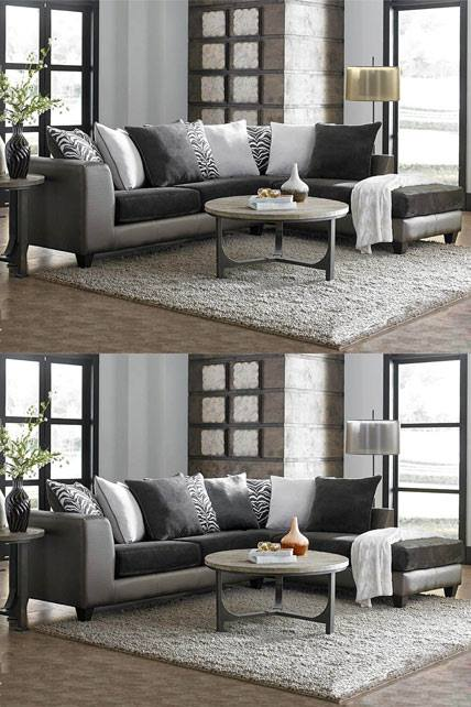Tuesday Teaser Shimmer Magnetite 2 Piece Sectional Sofa