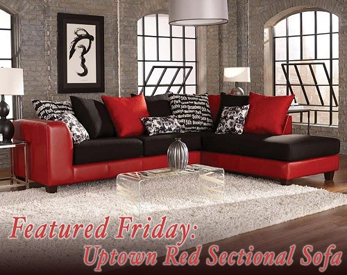 Uptown Red Sectional Sofa : red sectional couch - Sectionals, Sofas & Couches