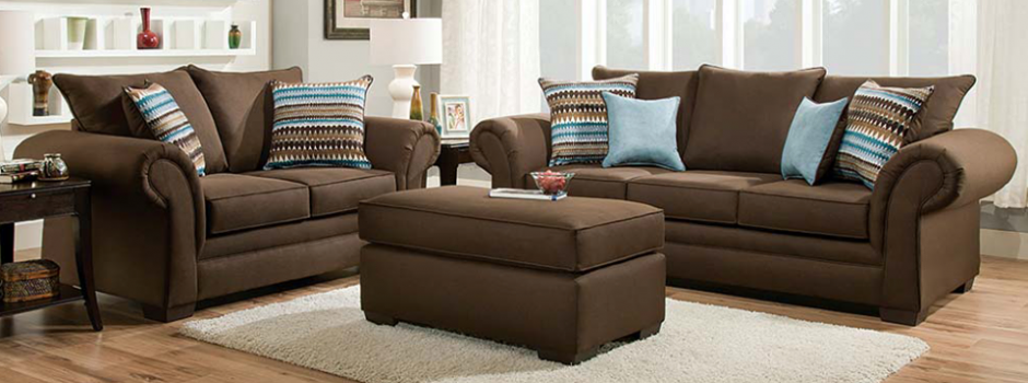 Jitterbug Cocoa Sofa and Loveseat