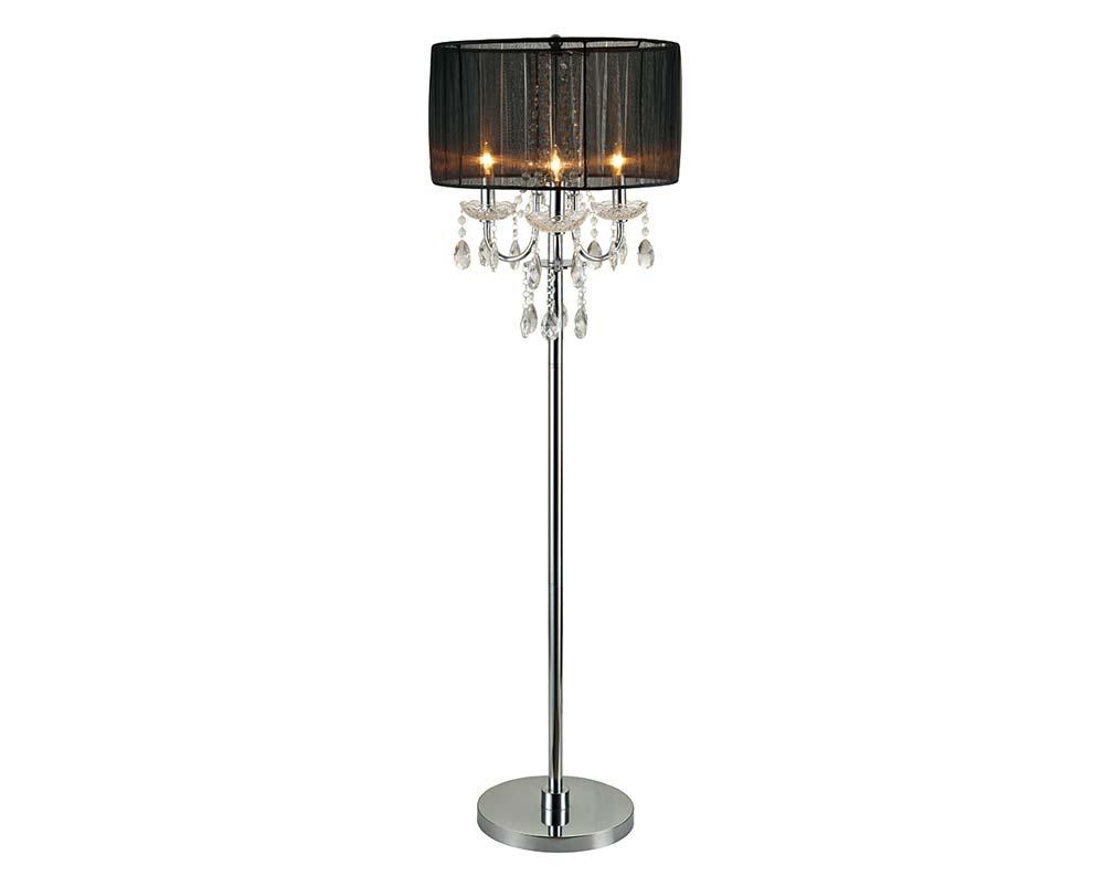 Crystal Chandelier Black Floor Lamp