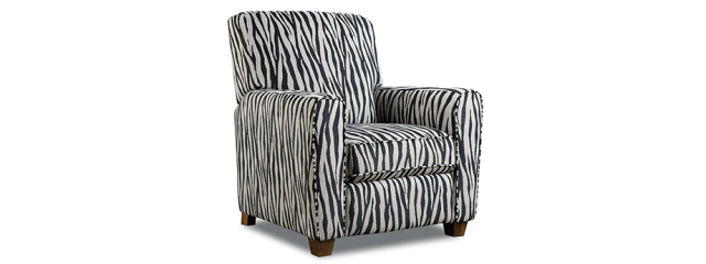Zebra Black Push Back Recliner