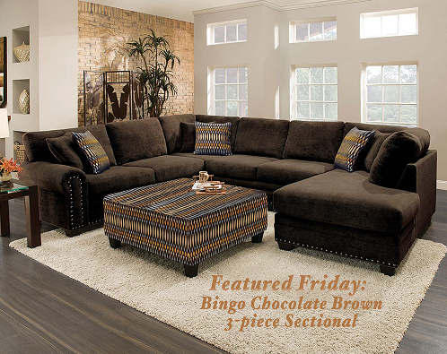 Featured Friday Bingo Chocolate Brown 3 Piece Sectional