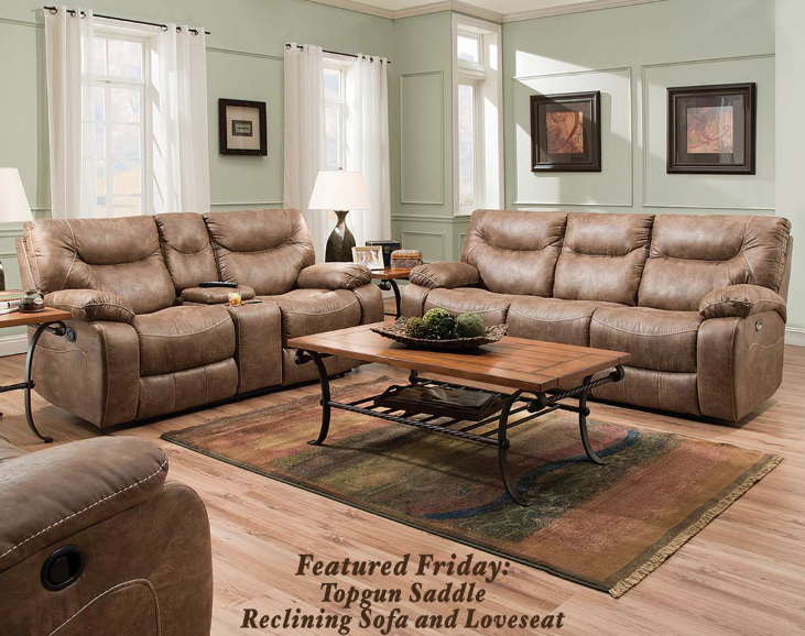 Topgun Saddle Reclining Sofa And Loveseat