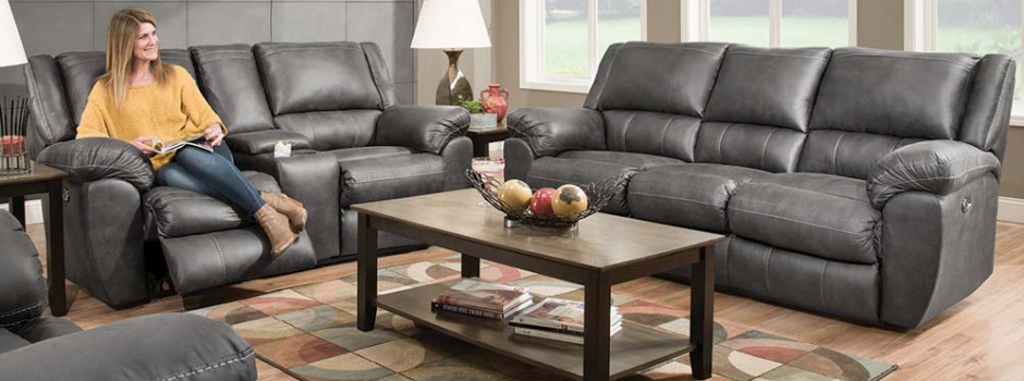 Shiloh Granite Reclining Sofa and Loveseat Set