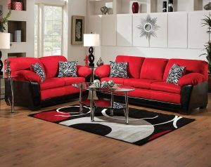 Implosion Red Sofa & Loveseat
