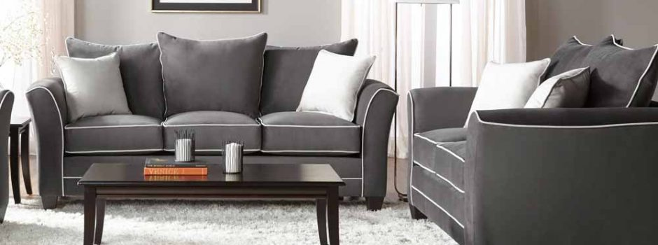 Bing Ash Sofa and Loveseat