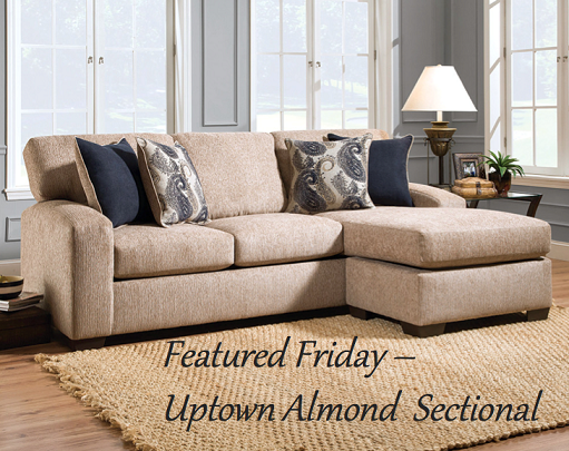Uptown Almond Two Piece Sectional Sofa