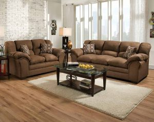 Sierra Chocolate Sofa and Loveseat