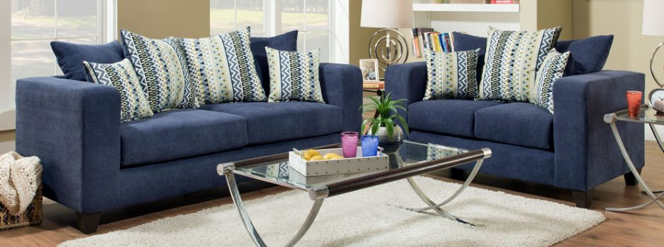 Heavenly Midnight Sofa and Loveseat