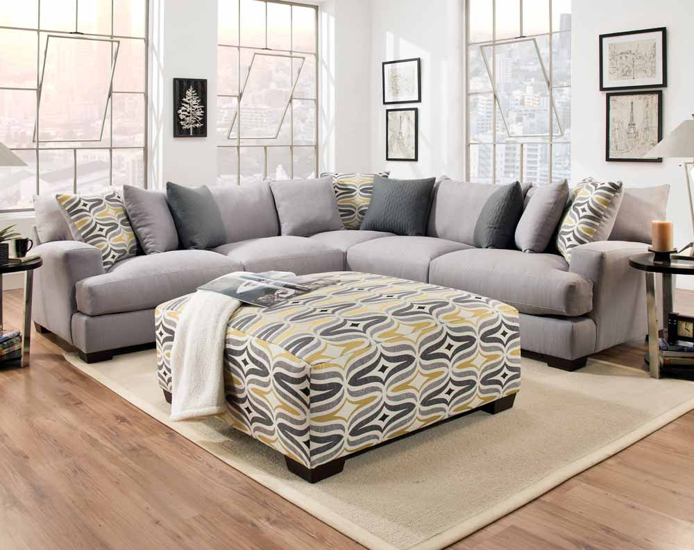 DePalma Gray 3 PC. Sectional Sofa