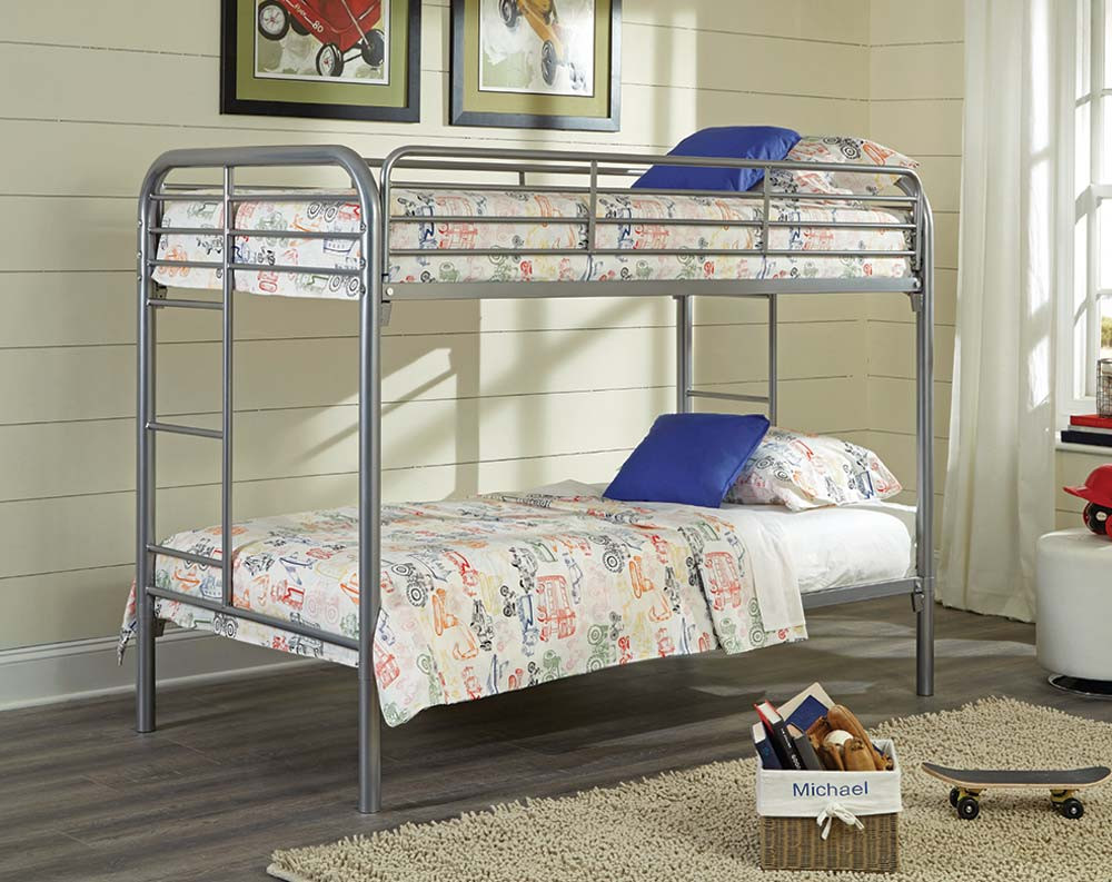 Twin Over Twin Silver Metal Bunk Bed American Freight