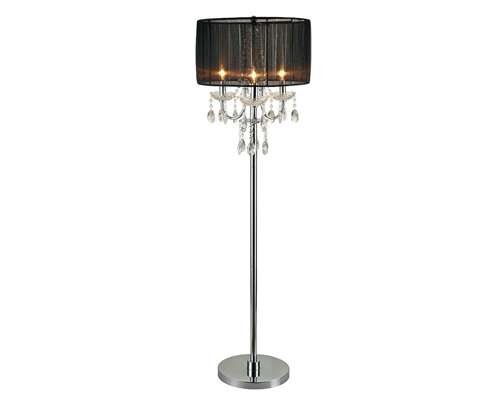 Crystal Chandelier Black Floor Lamp
