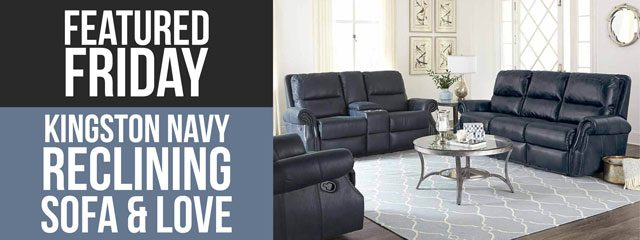 Anchor Your Living Room with this Navy Blue Reclining Sofa and Loveseat