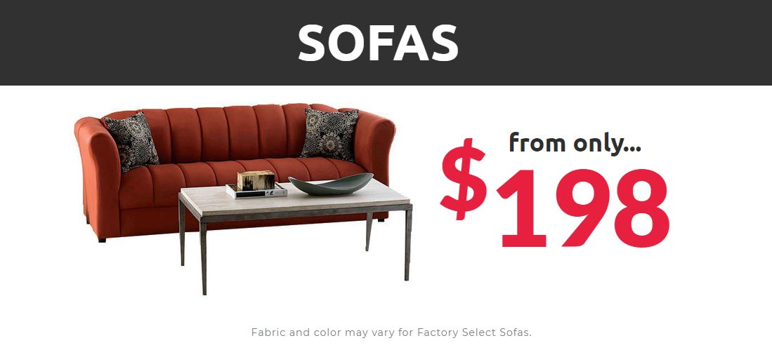 sofas from $198