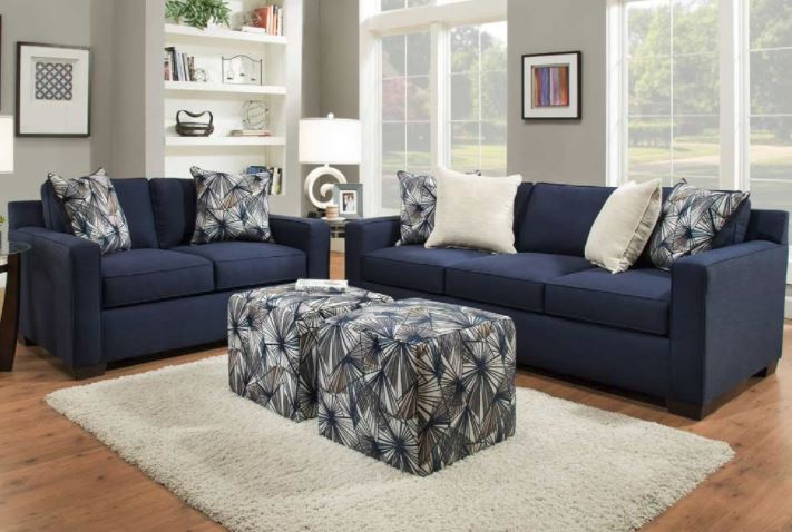 Dark Blue Velvet Tufted Sofa - Upholstered | Article Sven Modern Furniture