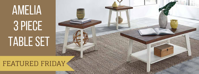 This Amelia Coffee Table Set is Country Chic