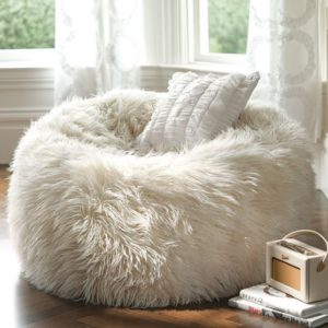 Ivory Furlicious Faux-Fur Beanbag by PB Teen