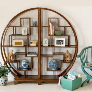 Round Elm Bookcase Brown Moongate Display Room Divider by Orchid