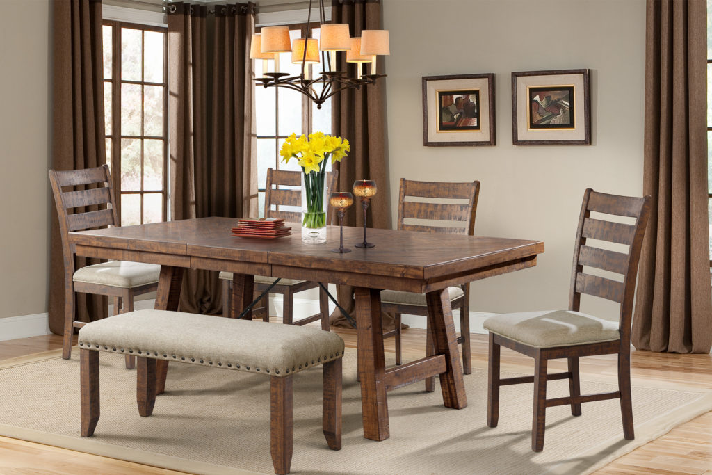 Jax Dining Ladder Back Chairs and Upholstered Bench
