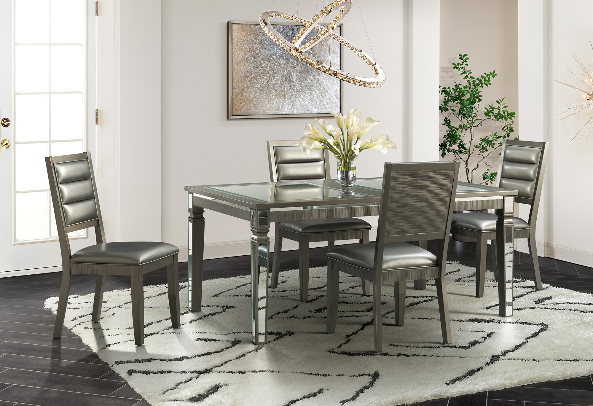 14.5 Glam Dining Collection with 4 chairs