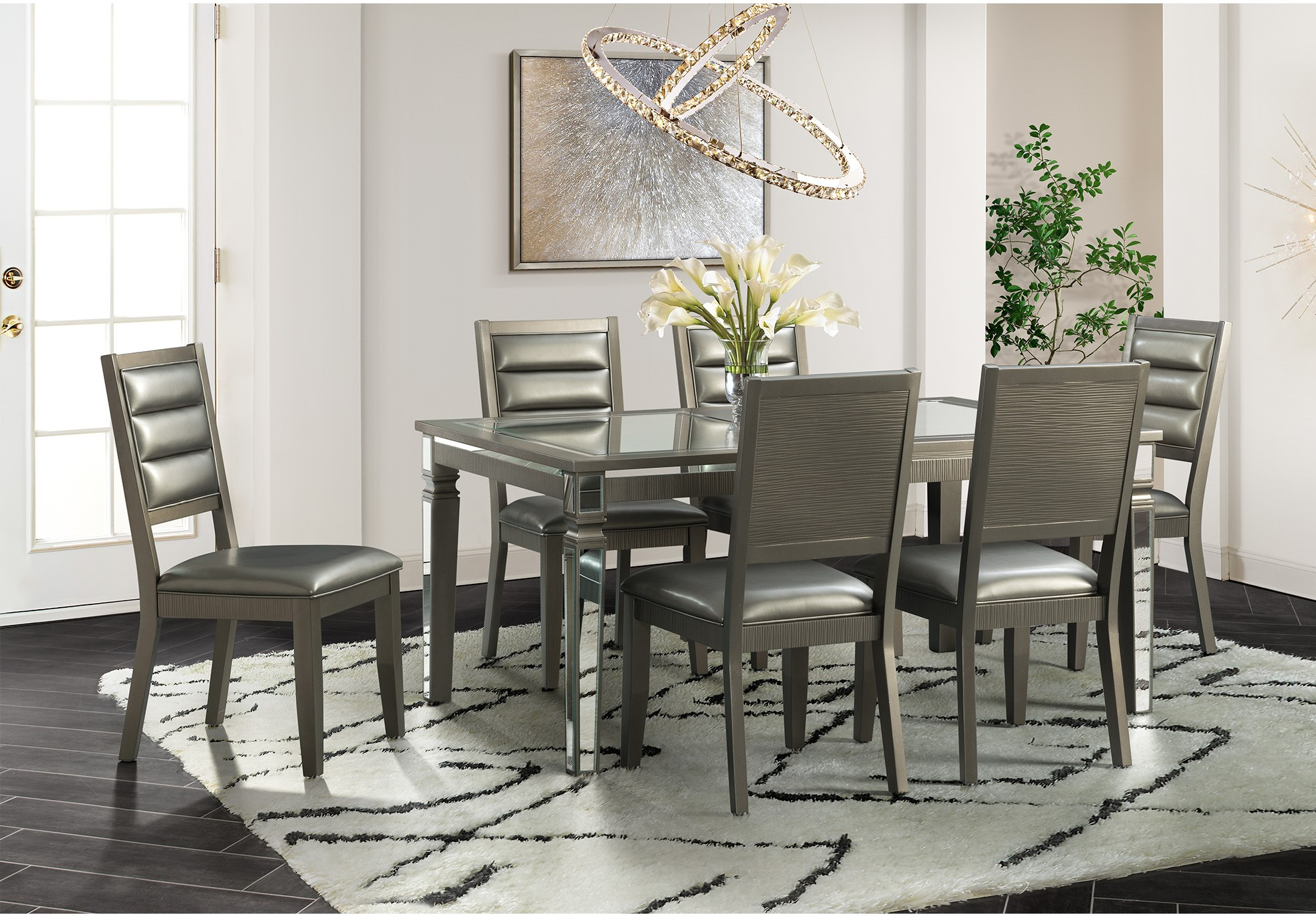 14.5 Glam Dining Collection with 6 chairs