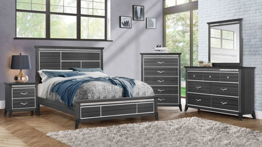 This Grey Bedroom Set Has Personality