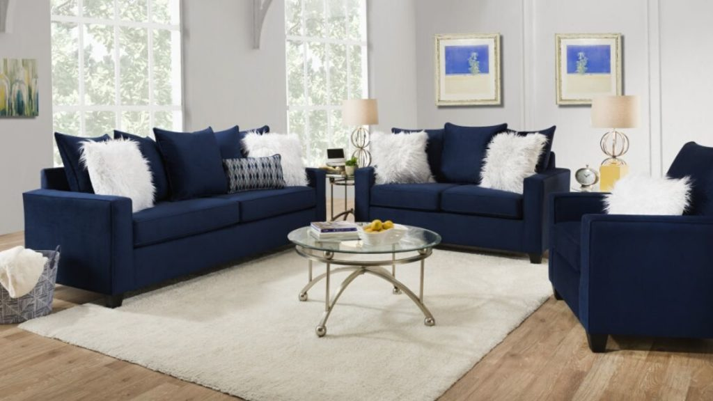 You Need This Indigo Blue Sofa and Loveseat Set