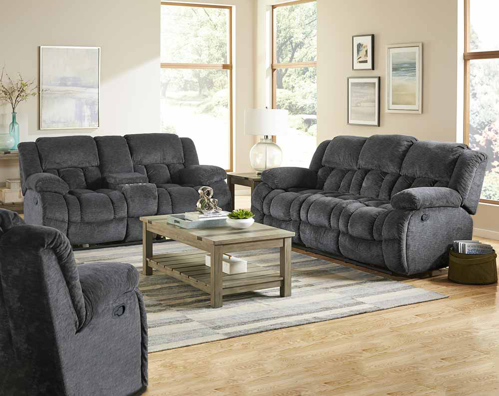 Seymore Charcoal Motion Sofa and Loveseat Collection
