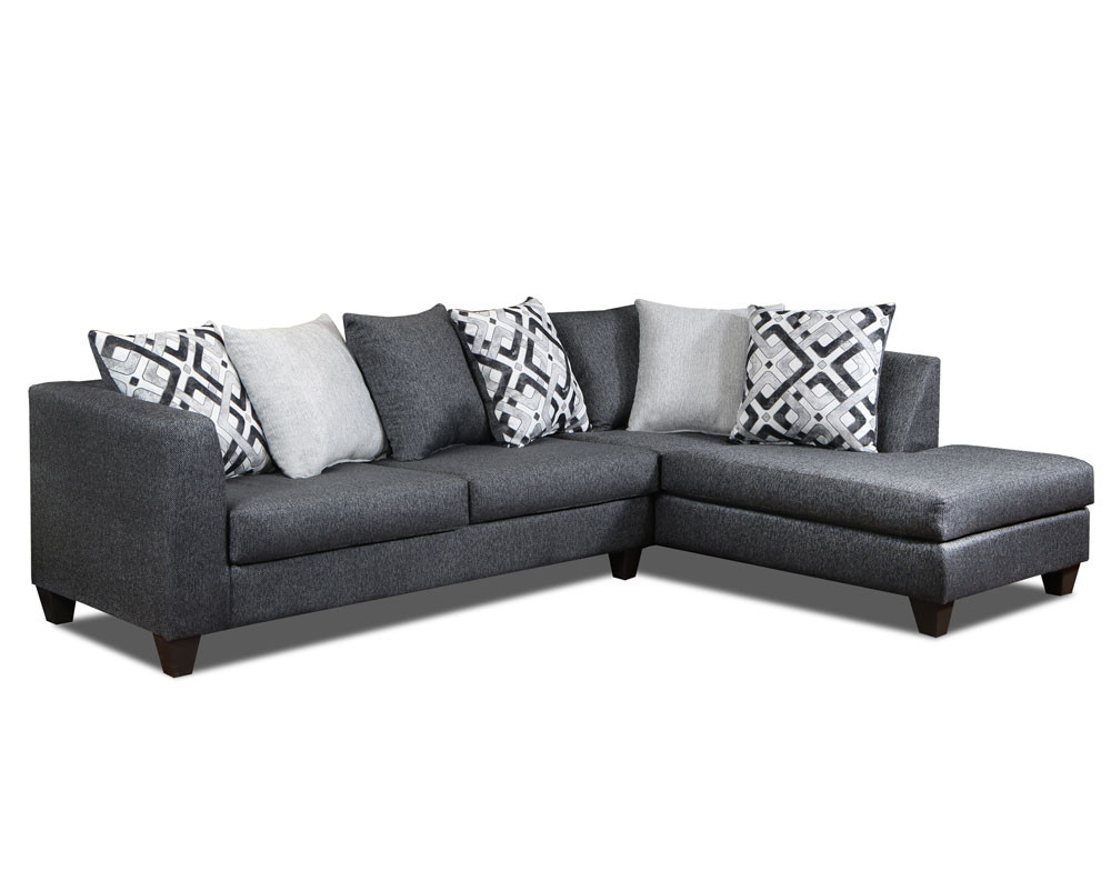 Crypton Charcoal Sectional-Grey Sectional