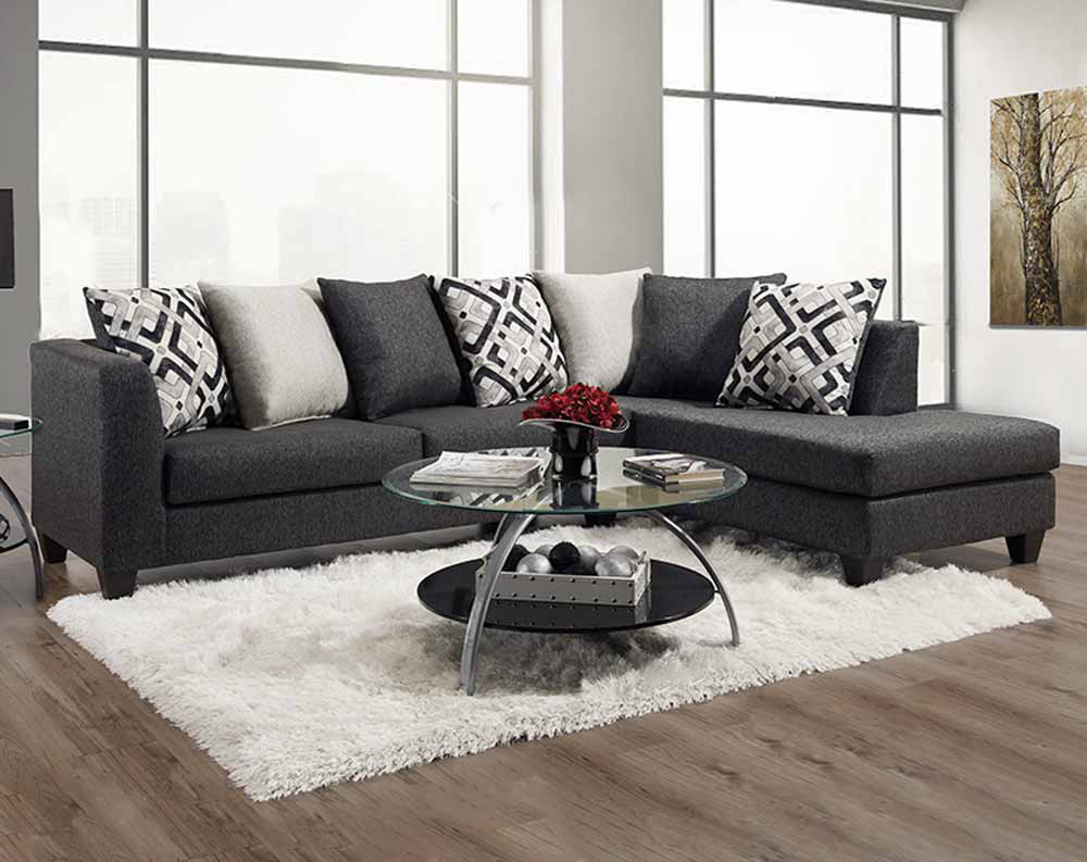 Crypton Charcoal Sectional Collection-Grey Sectional