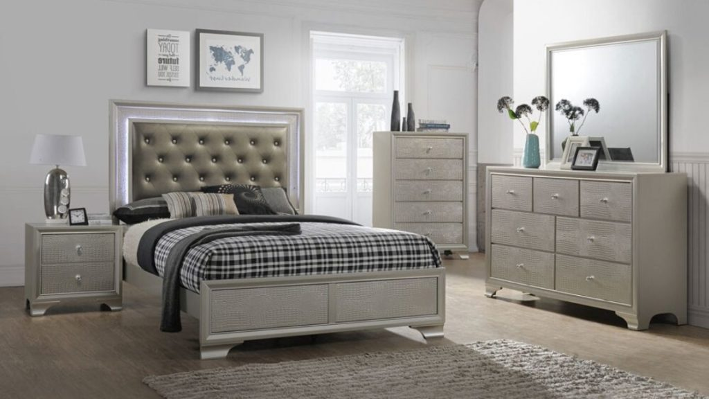 Check Out This Textured Metallic Bedroom Set